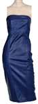 Lady Gagas Blue Leather Strapless Dress Worn to Bobby Campbells Birthday Party