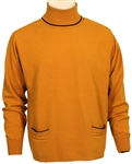 James Brown Owned and Worn Pumpkin Orange Sweater with Black Piping