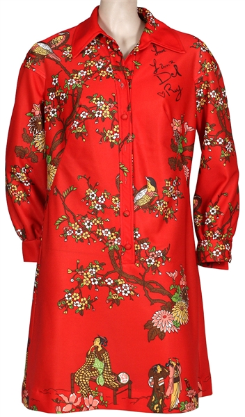 "Lana Del Rey ""Lust for Live"" Promotion Signed & Worn Red Chinese-Style Print Dress"