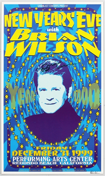 Beach Boys Brian Wilson Signed Original 1999 New Years Eve Concert Poster
