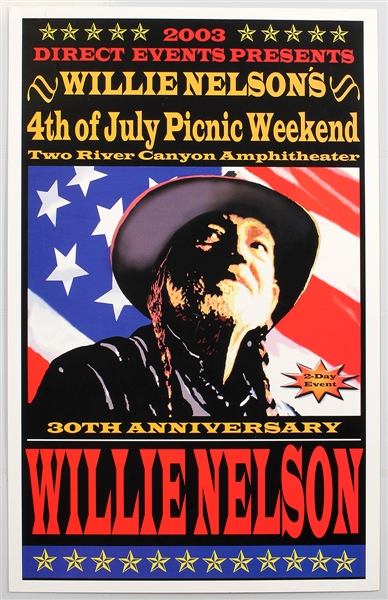 Willie Nelson Original 2003 4th of July Picnic Weekend Concert Poster