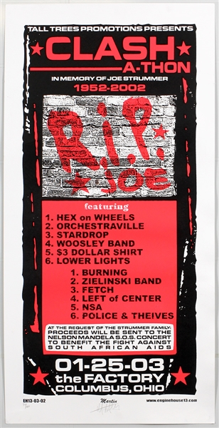 "Clash-A-Thon ""R.I.P. Joe"" Joe Strummer Memorial Concert Limited Edition Poster Signed by the Artist"