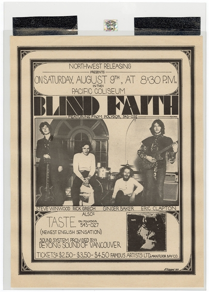 Blind Faith Original 1969 Concert Handbill