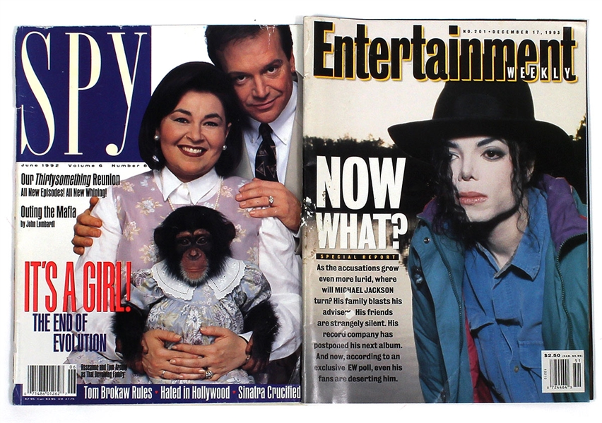 Michael Jackson Personally Owned Entertainment Weekly Magazine and Spy Magazine with Roseanne Barr