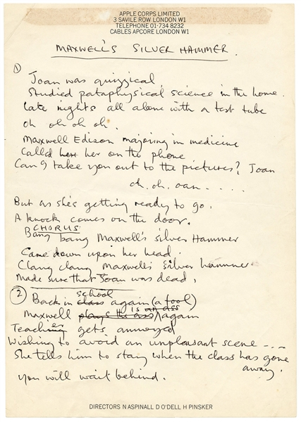 "Beatles Paul McCartney Handwritten ""Maxwells Silver Hammer"" Working Lyrics Frank Caiazzo Authenticated"