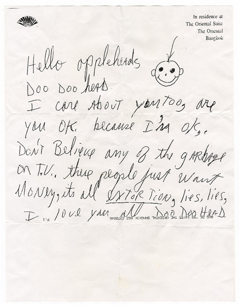 Michael Jackson Personally Owned Original Fax of His Handwritten Letter Proclaiming His Innocence