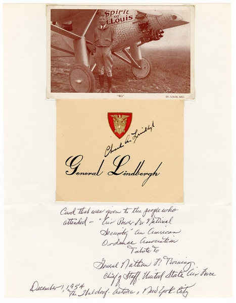 Charles Lindbergh Signed Table Card JSA LOA