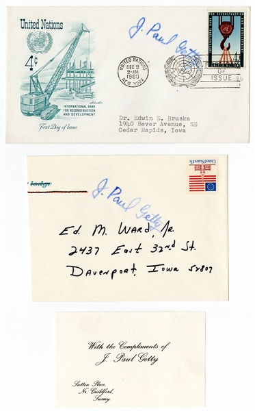 John Paul Getty Signed First Day Covers (2) JSA Authentication (2)