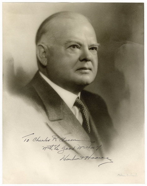 Herbert Hoover Signed and Inscribed Original Bachrach Photograph JSA LOA