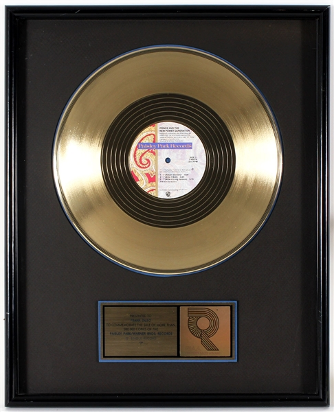 "Prince and The New Power Generation ""7"" Original RIAA Gold 12"" Single Record Award Presented to Frank DiLeo"