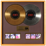 "Epic Records Special Epic Portrait Associates 1983 Gold and Platinum Awards Display Presented to Frank DiLeo Featuring Michael Jacksons ""Thriller"""