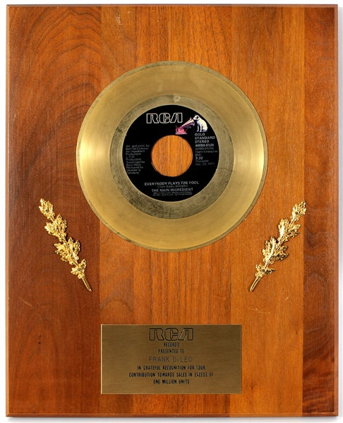 "The Main Ingredient ""Everybody Plays The Fool"" Original RCA Records In-House Gold Single Record Award Plaque Presented to Frank DiLeo"