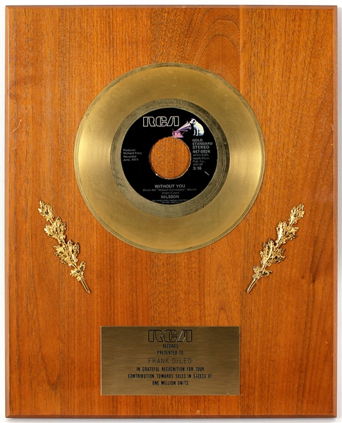 "Nilsson ""Without You"" Original RCA Records In-House Gold Single Record Award Plaque Presented to Frank DiLeo"