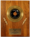 "Elvis Presley ""Burning Love"" Original RCA Records In-House Gold Single Record Award Plaque Presented to Frank DiLeo"