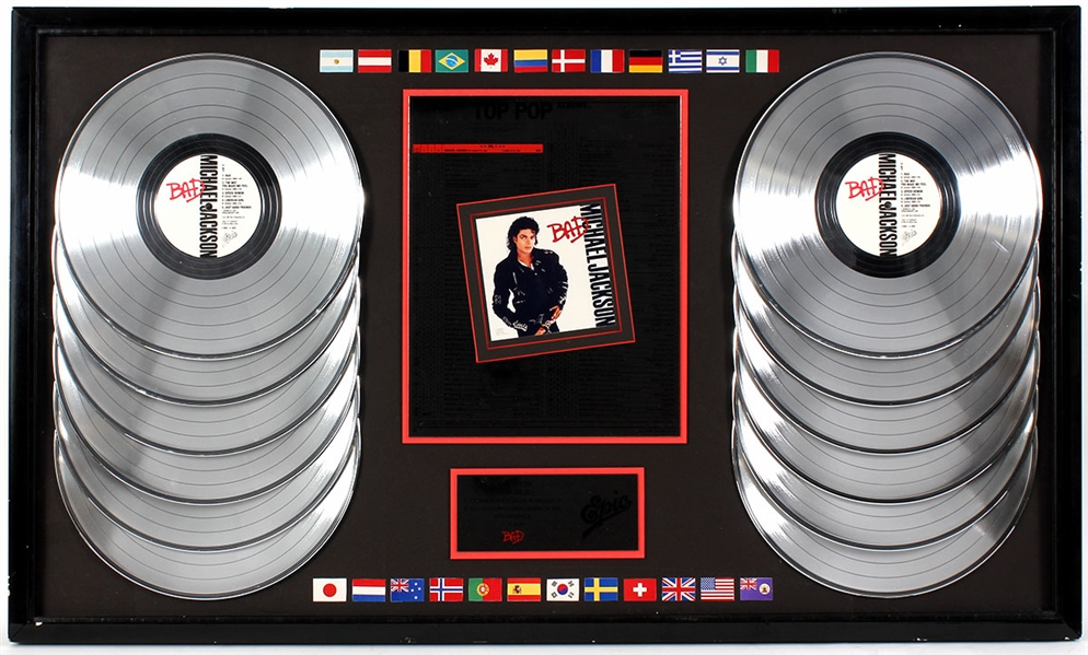 "Michael Jackson ""Bad"" Original Epic Records Multi-Platinum Record Award Display Presented to Frank DiLeo"