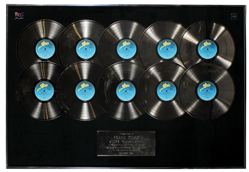 "Michael Jackson ""Thriller"" CBS Records Australia Over-Sized Multi-Platinum Record Album Award Display Presented to Frank DiLeo"