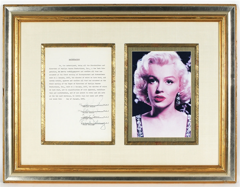 Marilyn Monroe & Milton Greene Signed 1955 Historical Marilyn Monroe Productions Document JSA LOA