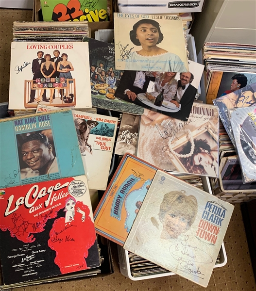 Large Archive of 608 Autographed Albums Featuring Rock & Roll, Pop, Broadway Musicals, Jazz, Opera and More!