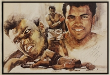 Muhammad Ali Vintage Signed Poster with 4X Champ Prophetic Inscription