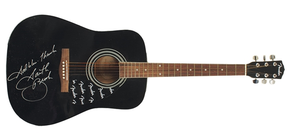 Garth Brooks Owned, Played and Signed Black Fender Acoustic Guitar