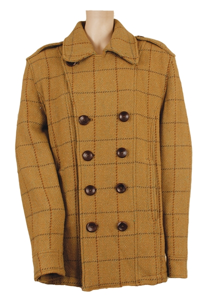 Tupac Shakur Owned & Worn Plaid Coat with Brown Buttons