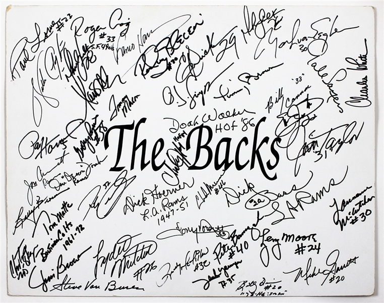 "NFL ""The Backs:"" Top Running Backs Incredible Signed Poster board 33 Signatures JSA Guarantee"