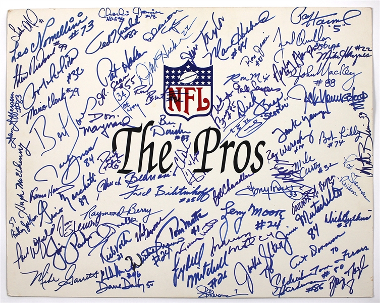 "NFL ""The Pros"" Hall of Fame Signed Poster 50+ Signatures JSA Guarantee"