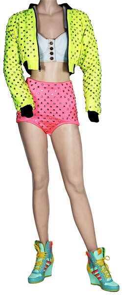 "Nicki Minaj ""Pink Friday Tour"" Stage Worn Custom Jeremy Scott Neon Green Studded Jacket, Neon Pink Studded Shorts, Denim Top and Shoes"