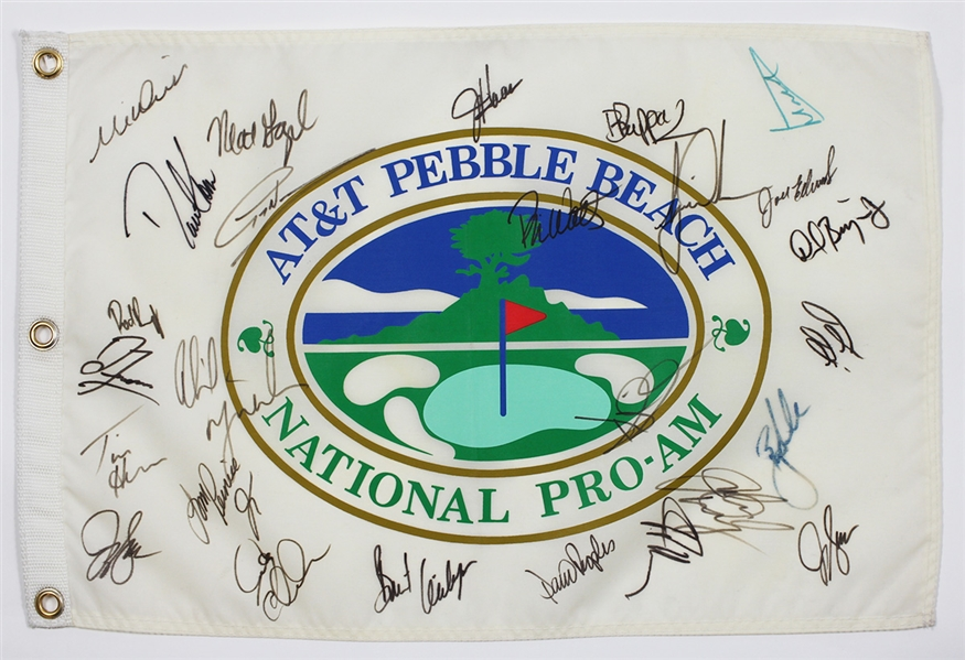 National Pro-Am Pebble Beach Pin Flag Signed by Over 25 Golfers JSA LOA