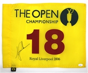Tiger Woods Signed 2006 Open Championship Win Pin Flag JSA LOA