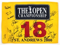 2000 Open Championship St. Andrews 18th Hole Pin Flag Signed by 23 JSA LOA