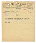 John F. Kennedy Original 1959 Senatorial Western Union Telegram