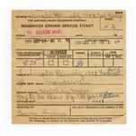 John F. Kennedy Original 1959 Western Union Messenger Errand Service Ticket