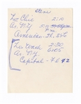 John F. Kennedy Original 1960 Travel Itinerary