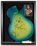 KISS Ace Frehley Twice-Signed Les Paul Prototype Blue/Green Guitar Body