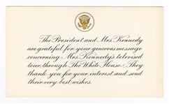 President John Kennedy and First Lady Jacqueline Kennedy Original Official White House Response Card
