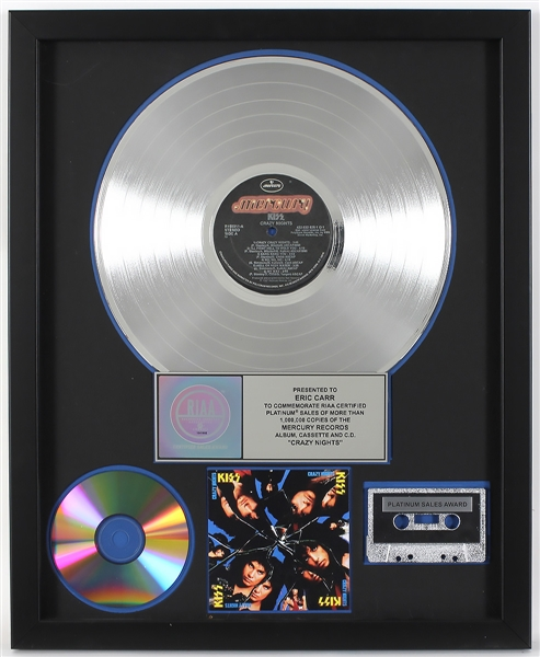 "KISS ""Crazy Nights"" Original RIAA Platinum Album, Cassette and C.D. Award Presented to Eric Carr"