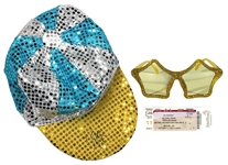 Elton John Backstage Worn and Signed Sequin Hat and Glasses