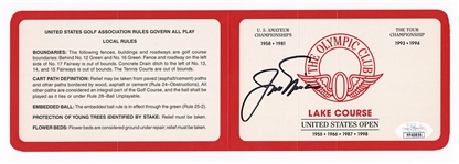 Jack Nicklaus Signed Official Olympic Club Lake Course Scorecard JSA Authentication