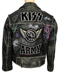"KISS Signed ""KISS Army"" Black Leather Motorcycle Roadie Tour Jacket"