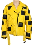 Lil Nas X Tour and Promotional Photo Shoot Worn B James Yellow Leather Bumble Bee Moto Jacket