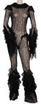 Lady Gaga Haus Laboratories Launch Party Worn Elaborate Black Lace Ruffled Full Bodysuit
