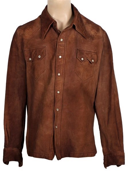 Jimi Hendrix Owned and Worn Brown Suede Shirt