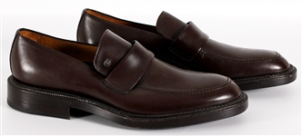 Elton John Owned & Worn Brown Leather Gianni Versace Leather Loafers