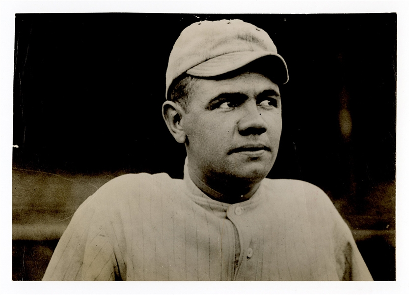 Babe Ruth Red Sox Rookie Original Wire Stamped Photograph