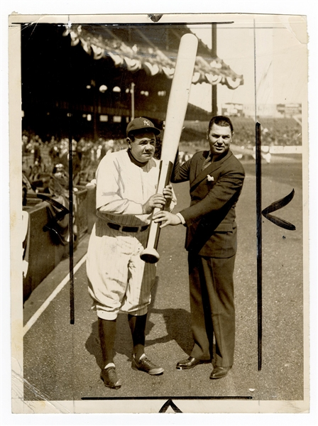Babe Ruth and Jack Dempsey Original Wire Photograph