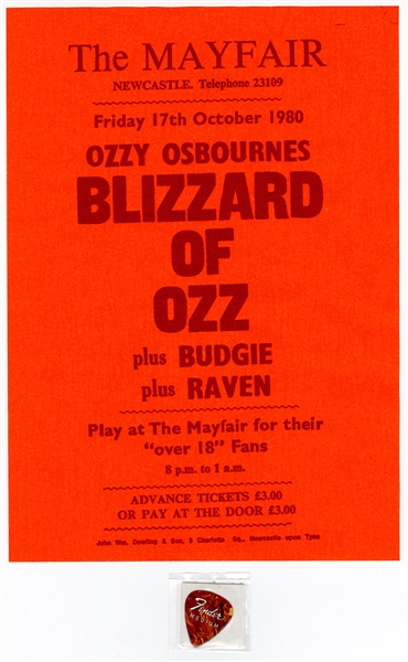 "Randy Rhoads Stage Used Guitar Pick and  ""Blizzard of Oz"" Original 1980 Concert Poster"