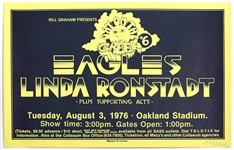 Eagles and Linda Ronstadt Original 1976 Concert Poster Signed by Randy Tuten