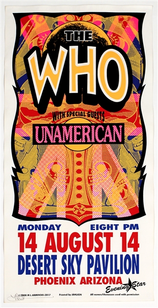 The Who Original Sky Pavilion Concert Poster Signed by Artist