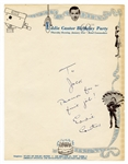 Eddie Cantor Handwritten Signed Note on His Personal 60th Birthday Letterhead JSA Authentication